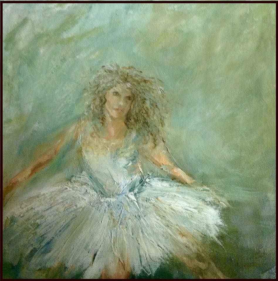 """And Your Pointe Is...? (SOLD) 12"""" x 12"""" Oil on Canvas"""